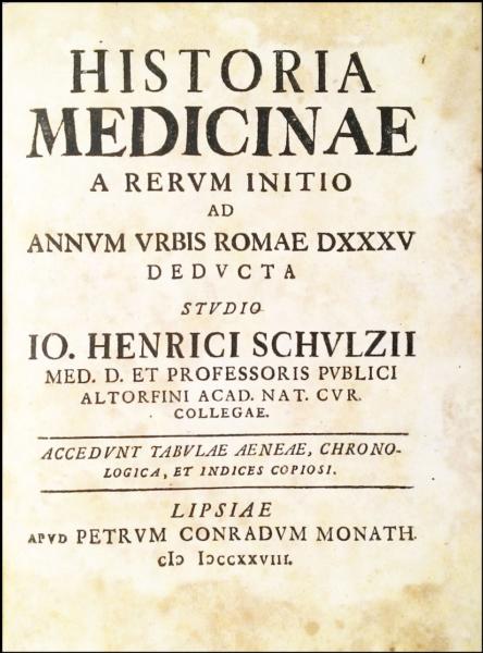 1617 - Schulze, Historia medicinae, 1728