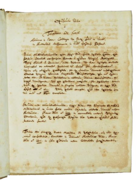 1655 - Manoscritto, Opuscula edita a Theodoro de Cock, fine 1600