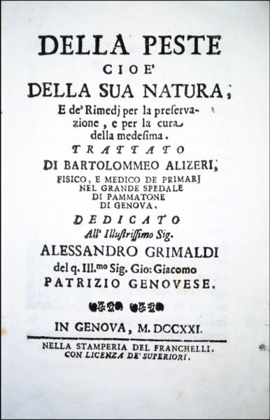 2088 - Alizeri, Della peste cioè della sua natura, 1721