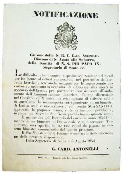 4552 - Papa Pio IX - Card. AntonelliNotificazione - Roma, 1854