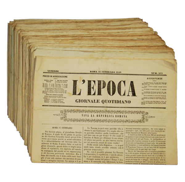 5022 - L'epoca: giornale quotidiano - Roma, 1849 (lotto di 87 numeri)